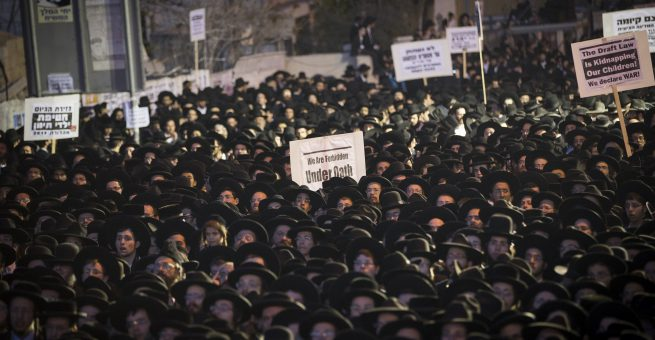 Ultraorthodoxe demonstrieren gegen Wehrpflicht