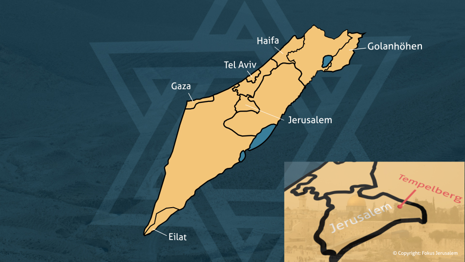 Landkarte Israels mit dem Tempelberg.